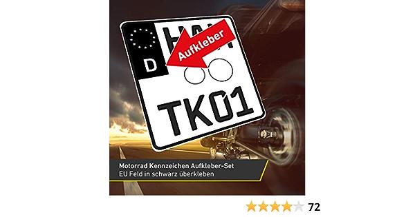 2x Motorrad Kennzeichen Nummernschild Aufkleber Eu Feld Schwarz 1x Starter Set Baumarkt