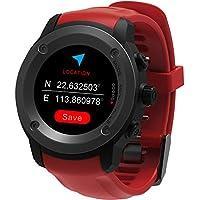 GPS Uhr HR Sport GPS Smartwatch Outdoor Sportuhr Laufuhr Herzfrequenz Schlaf Monitor mit Smart Notifications,Routenaufzeichnung Fitness Activity Tracker für iOS 8.0 & Android 4.4 and Above(Rot)