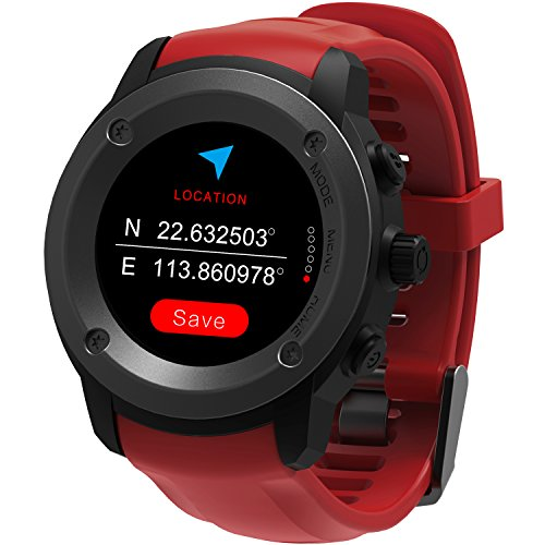 GPS Uhr HR Sport GPS Smartwatch Outdoor Sportuhr Laufuhr Herzfrequenz Schlaf Monitor mit Smart Notifications,Routenaufzeichnung Fitness Activity Tracker für iOS 8.0 & Android 4.4 and Above(Rot)