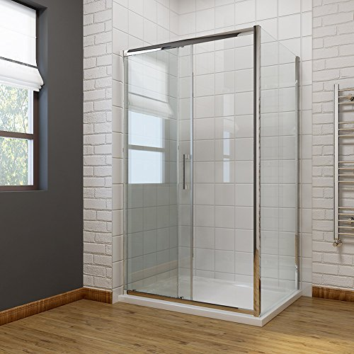 1100 x 700mm Sliding Shower Enclosure 8mm Easy Clean Glass Shower Cubicle Door with Shower Tray + Side Panel