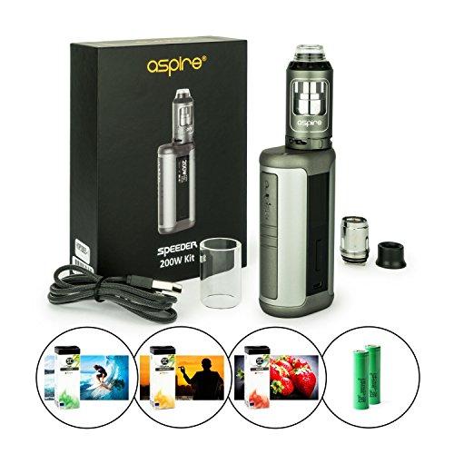 Aspire Speeder Kit 200 Watt, inkl. Athos Verdampfer 4 ml + 2 x 18650 Akku (je 2500 mAh) und 3 x 10 ml SC Liquid (nikotinfrei) E-Zigaretten-Set, E-Zigarette, E-Shisha (grau)