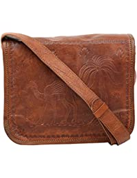 "Handcraft's ""Deserto"" Genuine Leather Unisex Cross Body Bag Brown G21-1450 ( 9 X 8 Inch)"