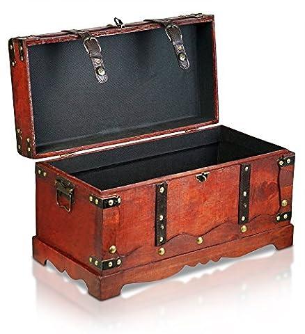 Piraten-Schatztruhe von Thunderdog - Holztruhe braun - Handarbeit Vintage mit und ohne Schloss verschiedene Größen - das ideale Geschenk unsere Schatzkiste (New York Stoff)