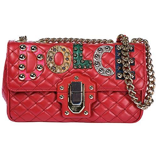 Dolce & Gabbana Schultertasche Leder Damen Tasche Umhängetasche Bag lucia Rot