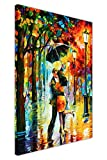 CANVAS IT UP Dance Under The Rain, Gemälde von Leonid Afremov, Leinwanddruck, Abstraktes Bild, Wand-Deko, Moderne-Kunst-Poster, Größe:101 x 76 cm.