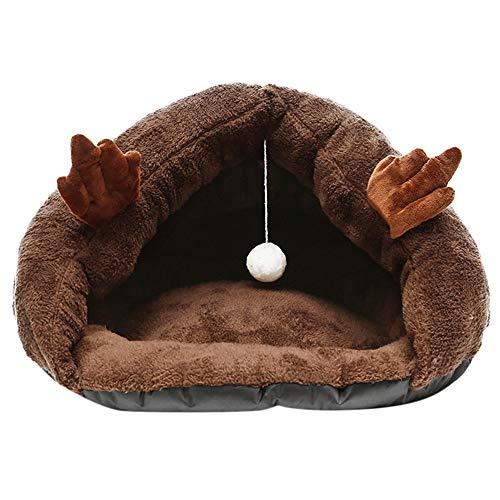 ODJOY-FAN Hündchen Haustier Katze Hund Weich Warm Nest Kennel Bett Höhle Haus Schlafen Tasche Matte Pad Zelt Zwinger Haustier Schlafplätze Kleintierbetten(Braun,L)