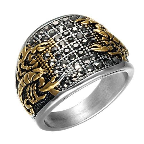 Epinki Edelstahl Ringe Gold Schwarz Cubic Zirkonia Skorpion Ringe Herrenringe Einzigartig Band Gr.65 (20.7)