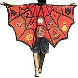 Lazzboy Frauen Männer Halloween Print Bat Schal Kostüm Zubehör Cosplay(Grün,Rot)
