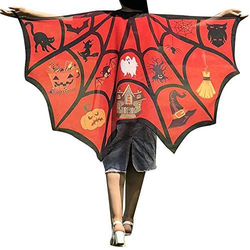 WOZOW Damen Schmetterling Kostüm Fasching Schals Nymphe Pixie Poncho Umhang für Party Cosplay Karneval Fasching (Dunkelorange)