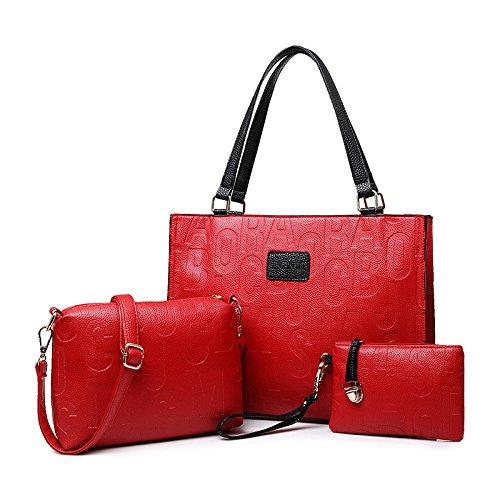 X&L Damen Mode Taschen drei Stücke multi-Farben Messenger Tasche Tasche Handtasche Red