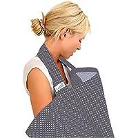 BebeChic.UK * Top Quality Oeko-Tex® Certified 100% Cotton * Breastfeeding Covers * Boned Nursing Tops - with Storage Bag - slate grey/white dot