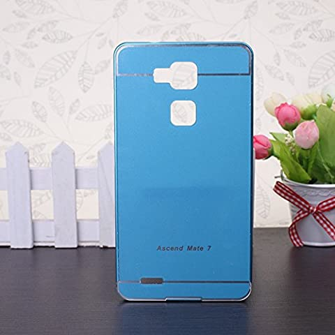 EKINHUI Huawei Mate 7 Coque; Luxe M¨¦tal Aluminium Bumper Coque d¨¦tachables + Hard Back 2 en 1 Ultra Cover chassis mince pour Huawei Mate 7(Blue)