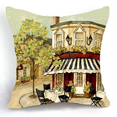 loool 45,7x 45,7cm Baumwolle Leinen Retro Vintage Baum Building Home Decor Kissenbezüge Sofa dekorativer Überwurf-Kissenbezug (Boudoir-sham)