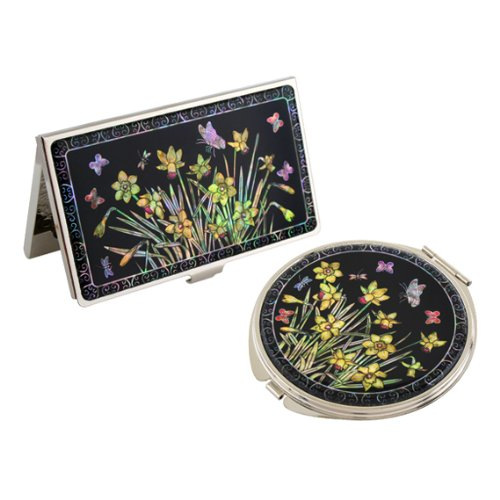 Set Miroir de Poche + Porte carte de visite Nacre Collection fleur DAFFODIL