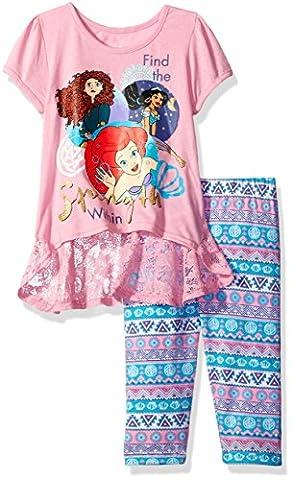 Disney Little Girls' 2 Piece Princesses Legging Set, Pink, 6