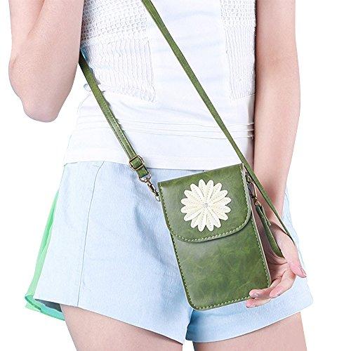 Contever® Retro Patrón del Crisantemo Funda / Bolso de Teléfono Móvil con la Pantalla Táctil para Teléfono menos que 6 Pulgadas Cuero PU Mujer Bolso Bandolera / Bolsa de Hombro -- Verde
