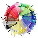 Zibofugu Stoccaggio Borse Organizzatori da Viaggio 100 Pezzi Sacchetti Regalo Organza Multi-Colored Festa di Nozze Borse Borse Gioielli Avvolgere Organizer Valigia Set