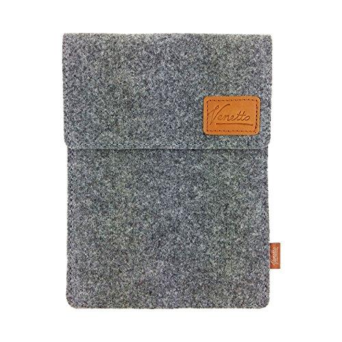 Venetto Tasche für eBook-Reader Hülle aus Filz Sleeve Schutzhülle für Kindle Kobo Tolino Sony Trekstor Grau -