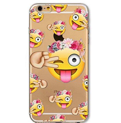 Coque Iphone 5C souple en Gel silicone transparent , smiley , clin d'œil , drole