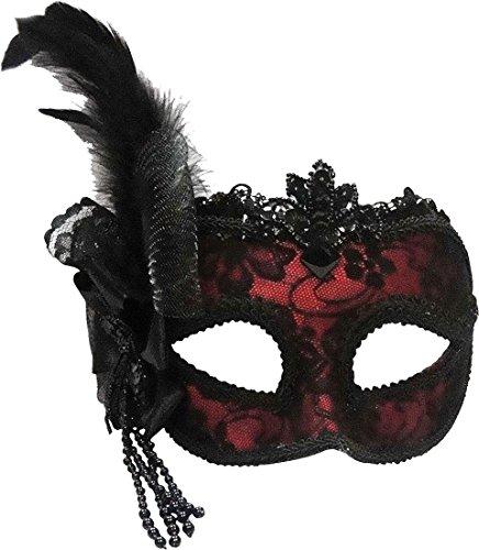 Venezianische Party Fancy Dress Zubehör Masquerade Seite Feder Maske auf Haarband UK, Rot