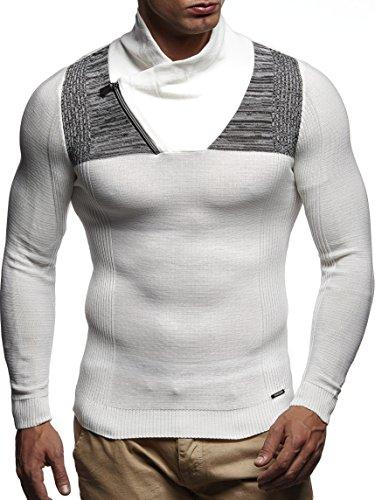 LEIF NELSON Herren Pullover Strickpullover Hoodie Basic Schalkragen Sweatshirt longsleeve langarm Sweater Feinstrick LN1615 Ecru-Schwarz