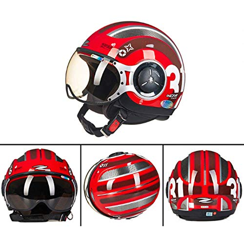 WJ Motorradhelm, Halber Helm, Fliegender Helm, MOMO Stil Atmungsaktiv Anti-Schwenk-Halbdeckel Herren Und Damen, Rot,M (Fliegende Helm)