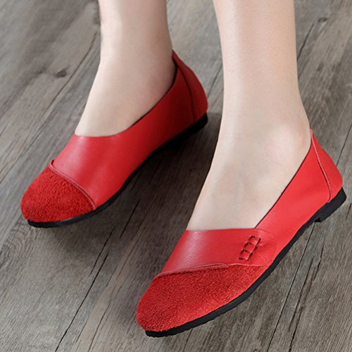 MatchLife Damen Vintage Handwork Runden Leder Flach Schuhe Braun Style5-Rot