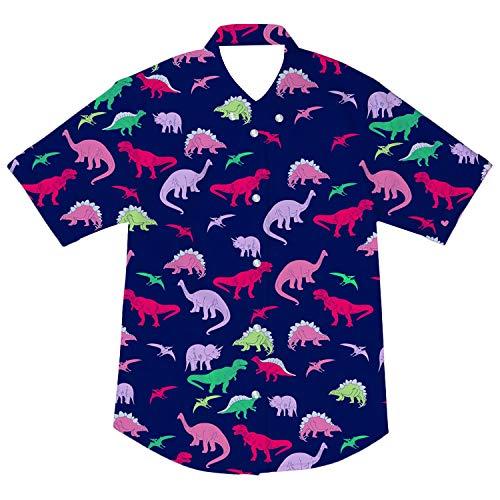 Jungen Kurzarm-dinosaurier (AIDEAONE Jungen Dinosaurier Druck Hemd Kurzarm Freizeithemden 122-128 cm)