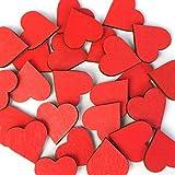 Holz Herzen rot - 1-10cm Streudeko Basteln Deko Tischdeko, Pack mit:25 Stück, Größe:Herzen 2cm