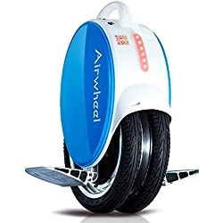 Monociclo eléctrico AIRWHEEL Q5 con luces LED y con lateral de silicona antideslizante, azul