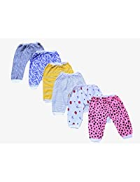 ISAKAA Cotton Mixed Prints Pajama for Babies, 0-3 Months (Multicolour) - Set of 6