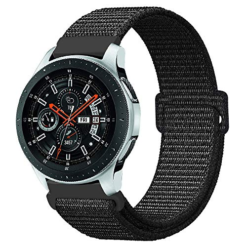 Fintie Armband kompatibel für Galaxy Watch 46mm / Gear S3 Frontier/Gear S3 Classic/Huawei Watch GT - Premium Nylon Uhrenarmband Ersatzband mit Verstellbarem Verschluss [ klein ], Schwarz