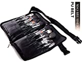 MSQ Professionelles 32 Teile Make Up Pinsel Set mit Leder Gürtel Gürteltasche & Natural Hair (Gesicht Pinsel, Lidschatten Pinsel, Lip Brushes) Am besten für Make-up-Künstler - Schwarz