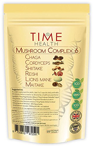Mushroom Complex 6 – MAXIMUM STRENGHT 13500mg per Capsule - 3 Months Supply - Chaga, Cordyceps, Shiitake, Reishi, Lions mane, Maitake - UK Manufactured to GMP code of practice and ISO 9001 quality assurance Test