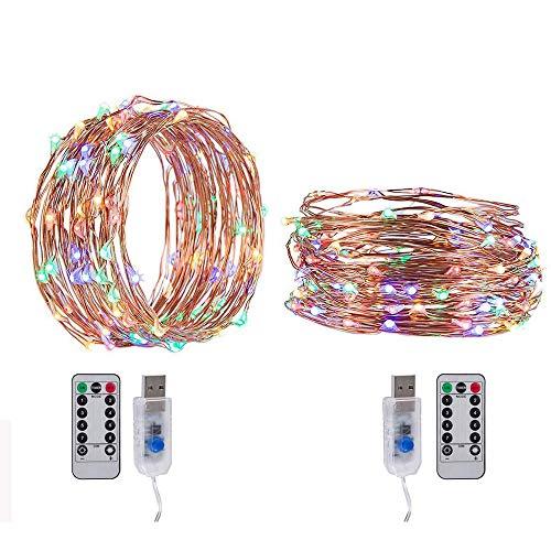 OLDF USB-Remote-Light-String, LED-Sternenlicht-Märchen-Licht Für Hochzeit 32,8 Ft, 100 LED-Leuchten Thanksgiving Dekor Halloween String Lights 2 Pack,Fourcolors,5Meters/16.4Ft