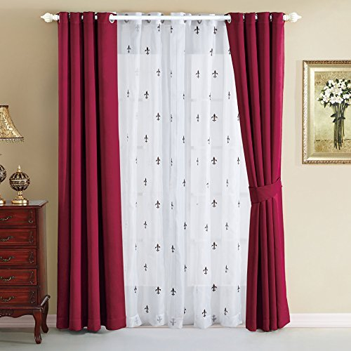 Serenta Fleur De Lis Voile Thermal Insulated Blackout Curtains 6 Piece Set, 54 x 84, Burgundy by BNF Home Fleur Thermal