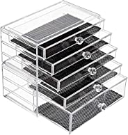 iPEGTOP Makeup Organiser Storage Drawer, Acrylic Clear Cosmetic Storage Box, 2 in 1 Stackable, Dust-Proof and