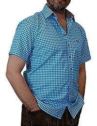 Trachtenhemd Mike kurzarm kariert mit Kontrasten im Kragen und Stick auf der Brusttasche von S bis 6XL
