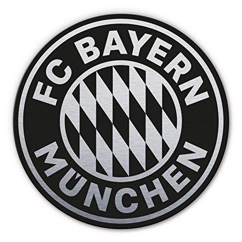 Alu-Dibond mit Silbereffekt Wandbild FC Bayern München Logo rund silber schwarz Bundesliga Fußball Mannschaft Vereinswappen Sportverein mit Wandhalterung Wall-Art - Ø 70c