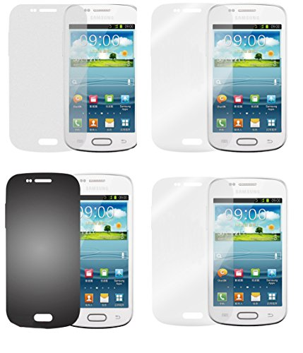 Cadorabo Hülle kompatibel Bildschirmschutzfolien für Samsung Galaxy ACE 2 Schutzfolien in HIGH Clear 4 Folien (1x Privacy 1x Spiegel 1x Matt 1x Anti-Fingerabdruck)