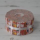 Stoff Freiheit Bauernhof orange Jelly Rolls 40Stoffstreifen 100% Baumwolle Geschenkbündel je Strip 6,3cm Breite x 106,7cm Länge Quilten Craft Patchwork Stoff Bundle Made in der UK Marke Neu In Präsentation Paket