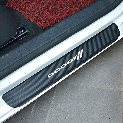 4 stücke Carbon Vinyl Auto Verschleißplatte Einstiegsleisten Auto Aufkleber für Dodge RAM Charger Challenger Reise Durango Demon Grand Caravan (Weiß) (Dodge-ladegerät-aufkleber)