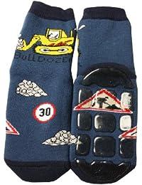 Weri Spezials Baby und Kinder Voll-ABS Socke Bulldozer Motiv in Marine