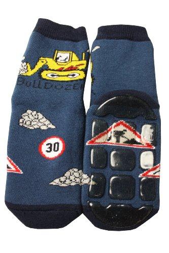Weri Spezials Kinder Voll-ABS Socke Bulldozer Motiv in Jeans Gr.27-30 (5-6 Jahre))