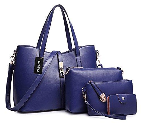 Tibes PU cuir sac à main + épaule de sac de femmes de la mode + porte-monnaie + carte 4pcs mis Bleu profond