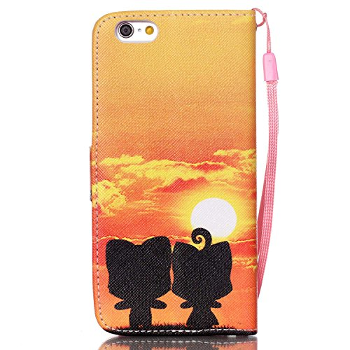 iPhone 6S Hülle,iPhone 6S Tasche,iPhone 6 Case - Felfy Flip Bookstyle PU Ledertasche Strap Standfunktion Magnetverschluss Luxe Ledertasche Painted Muster Bunte Malerei Retro Painted Abdeckung Mit Stan Leopard Katze