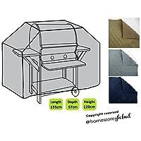 HomeStore Global moyen Housse de protection pour Barbecue à gaz 135 (l) x 57 (p) x 112/120(h)cm - Épais et de haute qualité durable 600D Polyester toile avec des coutures doubles pour plus de solidité, très résistante et anti-humidité - Gris