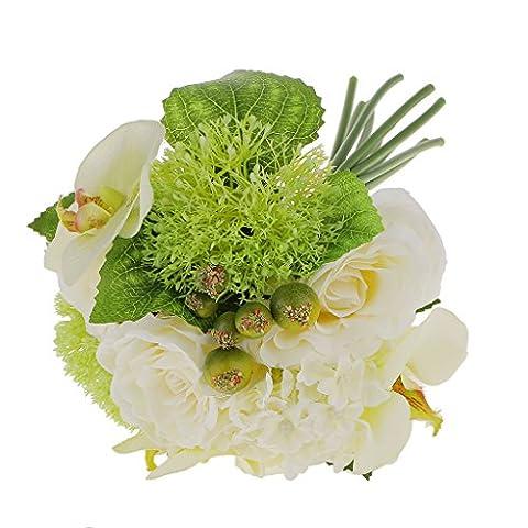 Artificielle Fleur Bouquet de Pivoine Orchidée Décoration de Mariage avec Feuille - Blanc, M4x20