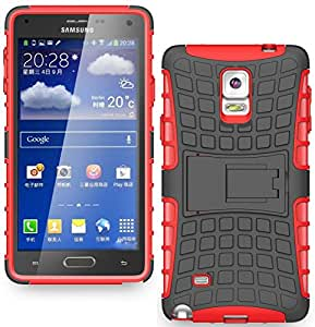 Heartly Flip Kick Stand Spider Hard Dual Rugged Armor Hybrid Bumper Back Case Cover For Samsung Galaxy Note 4 SM-N910I SM-N910GZIEINS N910 - Hot Red