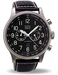 Davis 0450 - Reloj Aviador de 48mm para caballero, Cronógrafo Sumergible 50M con correa de Piel Negra con pespunte